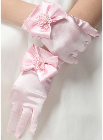 Elastic spandex With Flower Wrist Length Glove