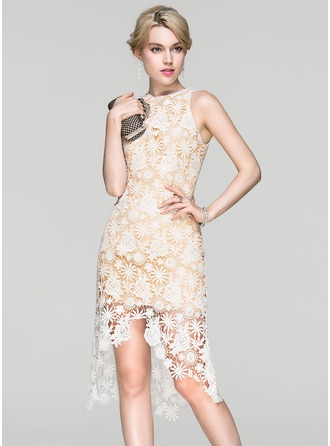Sheath/Column Scoop Neck Asymmetrical Lace Cocktail Dress