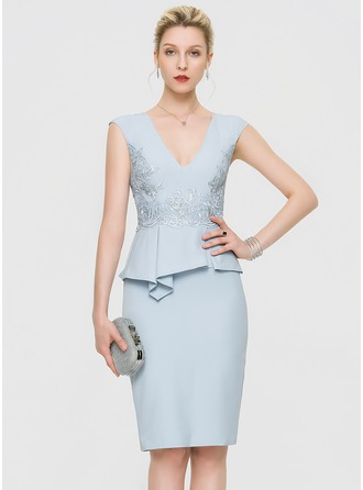 Sheath/Column V-neck Knee-Length Stretch Crepe Cocktail Dress With Lace
