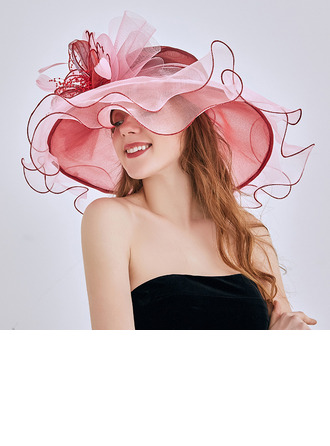 Ladies' Glamourous/Elegant/Eye-catching Organza With Flower Beach/Sun Hats/Kentucky Derby Hats/Tea Party Hats