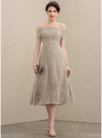 Off-the-Shoulder Tea-Length Lace Mother of the Bride Dress With Beading