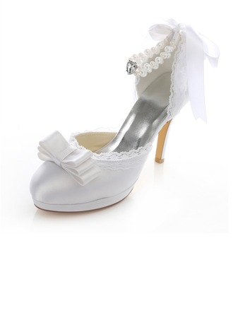 Women's Satin Stiletto Heel Closed Toe Pumps With Imitation Pearl Ribbon Tie