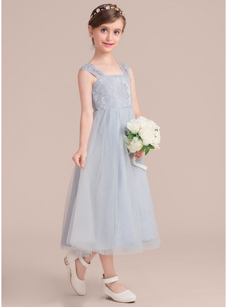 Tea-length Flower Girl Dress - Tulle Lace Sleeveless Square Neckline