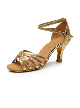 Women's Leatherette Heels Sandals Latin Jazz Ballroom Party Tango With Ankle Strap Dance Shoes