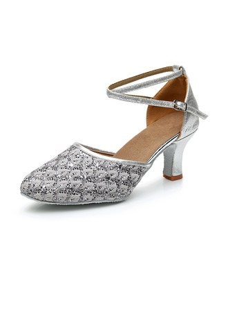 Women's Leatherette Sparkling Glitter Heels Ballroom Swing Dance Shoes