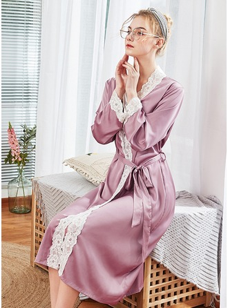 Polyester Bride Bridesmaid Mom Blank Robes Lace Robes
