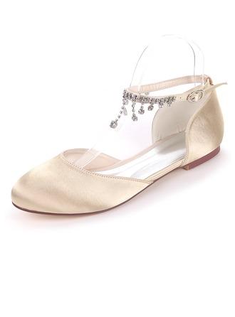 Femmes Soie comme du satin Talon plat Chaussures plates