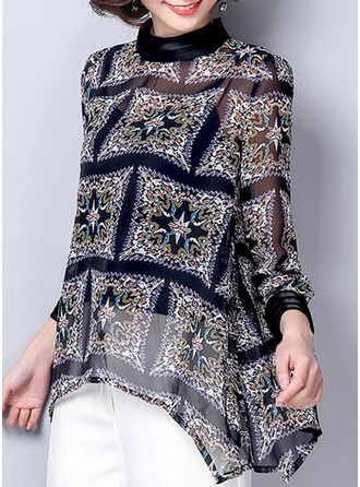 Print Long Sleeves Chiffon Round Neck Casual Blouses Blouses