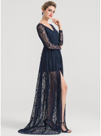 V-neck Sweep Train Lace Evening Dress With Split Front