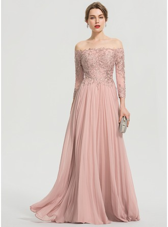 Off-the-Schulter Bodenlang Chiffon Abiballkleid