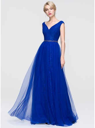 A-Line/Princess V-neck Floor-Length Tulle Prom Dress With Beading Sequins