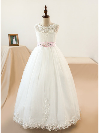 Ball-Gown/Princess Floor-length Flower Girl Dress - Tulle/Lace Sleeveless Scoop Neck With Sash/Beading/Appliques/Bow(s) (Petticoat NOT included)