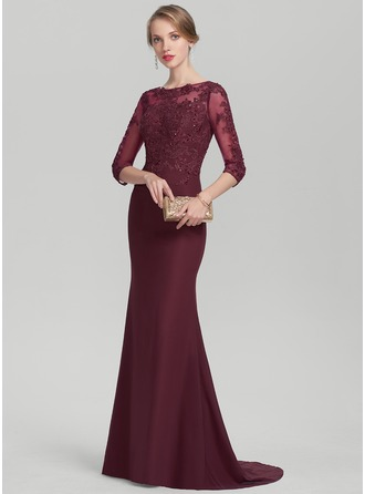 Trumpet/Mermaid Scoop Neck Sweep Train Chiffon Lace Evening Dress With Beading Sequins
