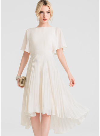 A-Line/Princess Scoop Neck Asymmetrical Chiffon Cocktail Dress With Pleated