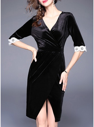 Velvet With Lace/Stitching Knee Length Dress