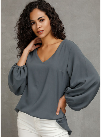 Long Sleeves Mâneci Bufante Polyester V Neck Bluzlar