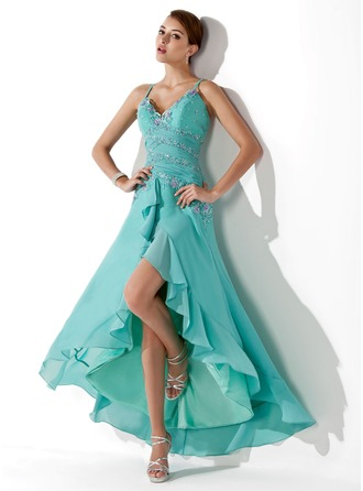 A-Line/Princess Sweetheart Asymmetrical Chiffon Prom Dress With Ruffle Beading Appliques Lace Sequins Cascading Ruffles