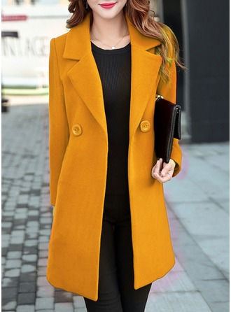 Cotton Long Sleeves Plain Slim Fit Coats ()