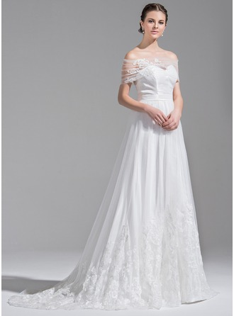 A-Line/Princess Sweetheart Sweep Train Tulle Lace Wedding Dress With Bow(s)