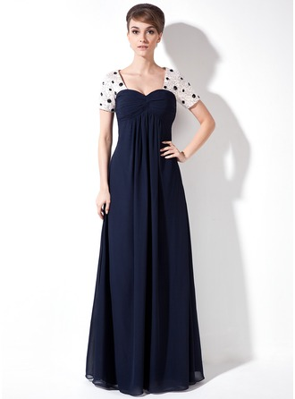 Empire Sweetheart Floor-Length Chiffon Mother of the Bride Dress With Ruffle Beading Sequins