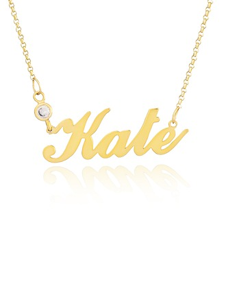 [Free Shipping]Custom 18k Gold Plated Silver Name Necklace With Diamond