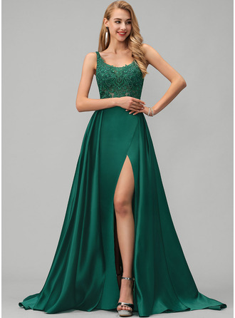 Square Neckline Sweep Train Satin Prom Dresses With Lace Sequins Split Front