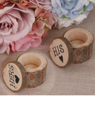 """""""HIS & HERS""""/Shabby Rustic Ring Box in Wood (Set of 2 pairs)"""