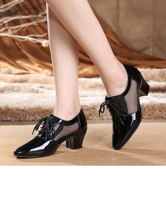 Women's Real Leather Heels Pumps Swing With Lace-up Dance Shoes