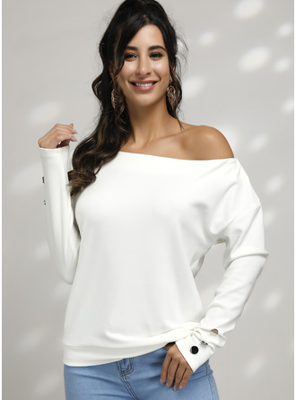 Batwing Sleeves Polyester Off the Shoulder Knit Blouses