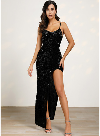 Sequins Sheath Spaghetti Straps Sleeveless Maxi Little Black Party Type Dresses