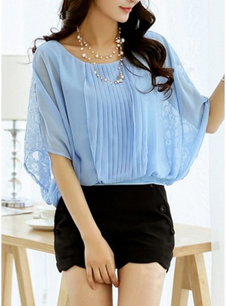 Chiffon Round Neck Lace Batwing Sleeve Casual Blouses