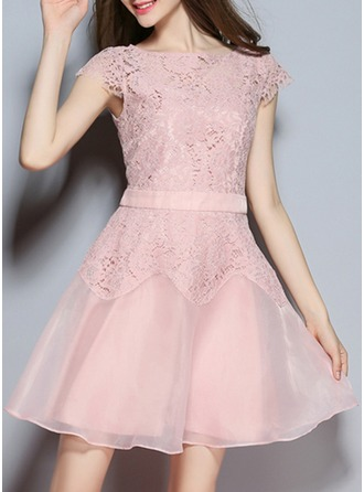 Lace With Stitching/Hollow Above Knee Dress