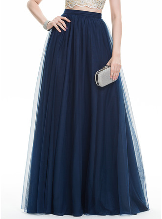 A-Line/Princess Floor-Length Tulle Prom Dress