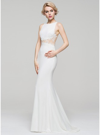 Trumpet/Mermaid Scoop Neck Sweep Train Jersey Evening Dress With Appliques Lace