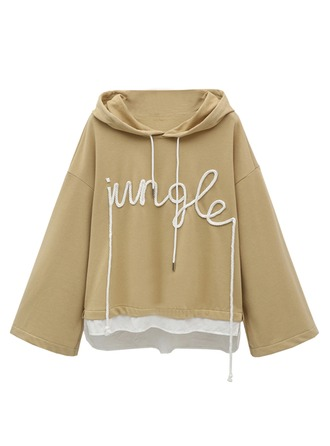 Plain Cotton Blends Hoodie Sweatshirts