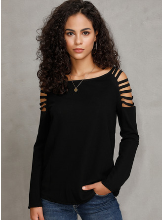 Long Sleeves Polyester Round Neck Plést ()