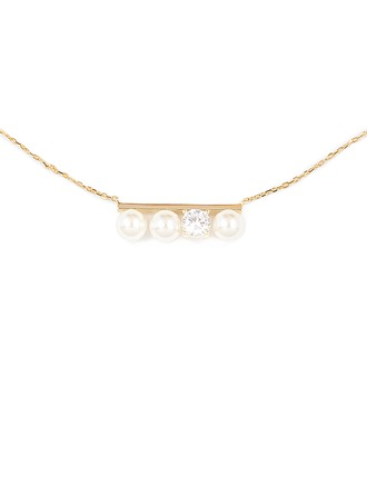 Silver Pearl/Beaded Cubic Zirconia Bar Pearl Necklace For Women For Girlfriend