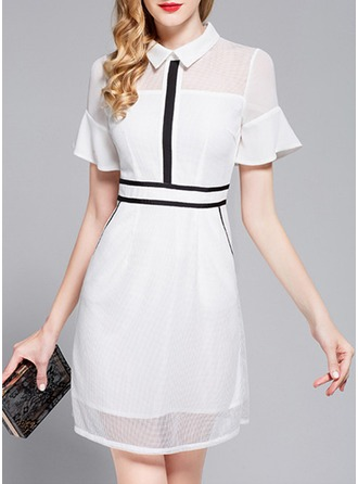 Chiffon With Stitching/Ruffles/See-through Look Above Knee Dress