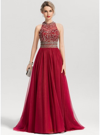 A-Line/Princess Scoop Neck Sweep Train Tulle Prom Dresses With Beading Sequins