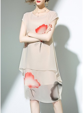 Polyester With Print Knee Length Dress (Two Pieces )