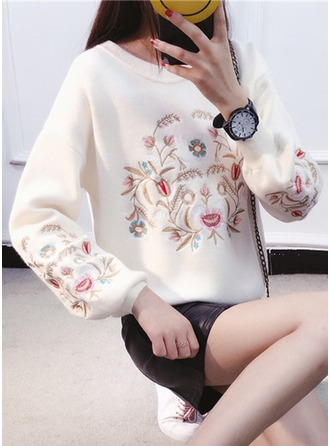 Embroidery Polyester Round Neck Sweater Sweaters