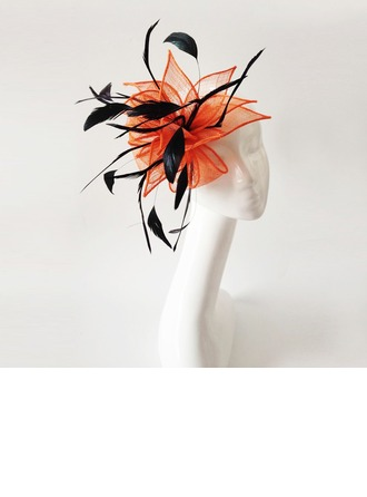 Dames Exquis Feather/Fil net avec Feather Chapeaux de type fascinator
