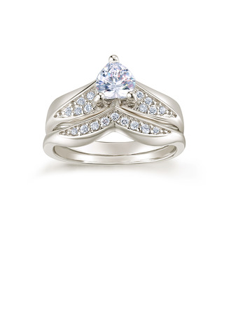 Sterling Silver Cubic Zirconia V Shaped Heart Cut Promise Rings Bridal Sets -
