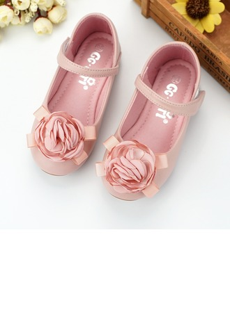 Girl's Microfiber Leather Flat Heel Round Toe Flats With Velcro Flower