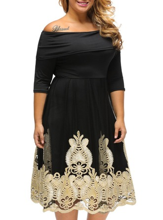 Polyester With Stitching/Appliques Knee Length Dress