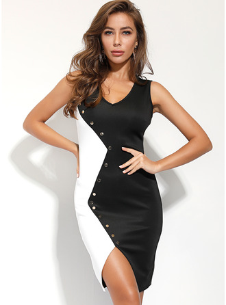 Polyester With Button Knee Length Dress