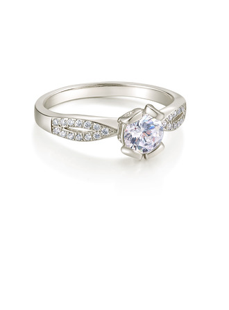 Sterling Silver Cubic Zirconia Dainty Twist Round Cut Engagement Rings Promise Rings -