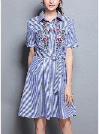 Cotton Blends With Bowknot/Embroidery Above Knee Dress