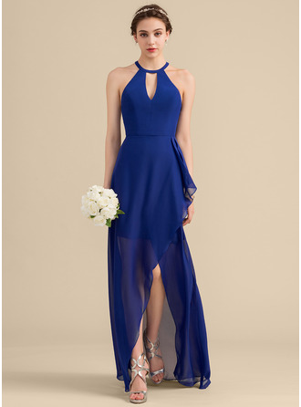 Scoop Neck Asymmetrical Chiffon Bridesmaid Dress