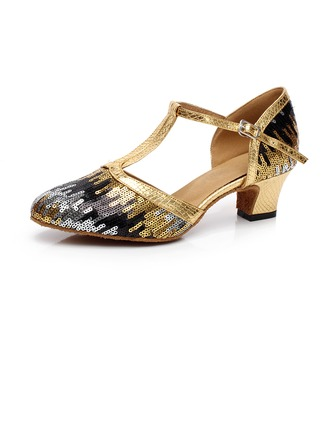 Women's Sparkling Glitter Heels Ballroom With Ankle Strap Buckle Sequin Dance Shoes